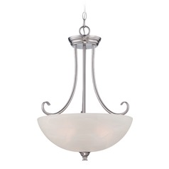 Designers Fountain Kendall Satin Platinum Pendant Light with Bowl / Dome Shade