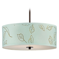 Dolan Designs Lighting Drum Pendant Light with Green Shade in Bronze Finish 5124-220