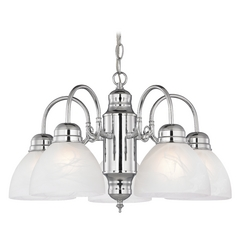 Mini-Chandelier with Alabaster Glass in Chrome Finish