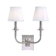 Sconce Wall Light with White Shades in Polished Nickel Finish