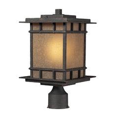Post Light with Brown Glass in Weathered Charcoal Finish