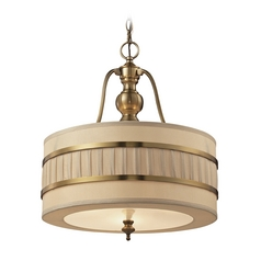 LED Drum Pendant Light with Beige / Cream Shades in Brushed Antique Brass Finish