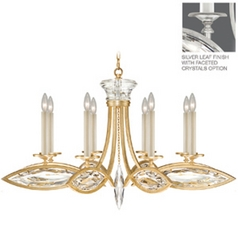 Fine Art Lamps Marquise Platinized Silver Leaf Crystal Chandelier