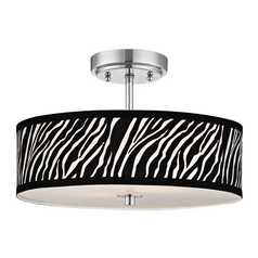 Chrome Ceiling Light with Zebra Print Drum Shade - 16-Inches Wide