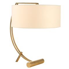 Deyo 2 Light Table Lamp Drum Shade - Aged Brass