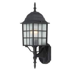 Outdoor Wall Light with White Glass in Textured Black Finish
