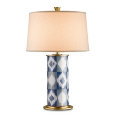 Currey and Company Lighting Blue, Gray and White / Gold Leaf Table Lamp with Drum Shade