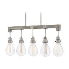 Hinkley Lighting Denton Pewter Island Light with Teardrop Shade