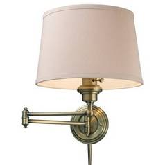 Modern Swing Arm Lamp with Beige / Cream Shade in Antique Brass Finish