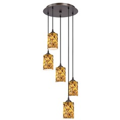 Design Classics Lighting Modern Multi-Light Pendant with Art Glass and Five-Lights in Bronze 580-220 GL1005C