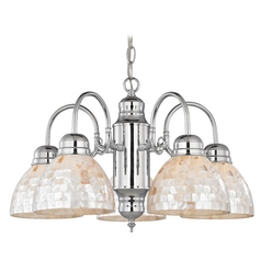 Design Classics Lighting Mini-Chandelier with Mosaic Glass in Chrome Finish 709-26 GL1033-M