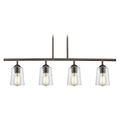 Industrial Linear Pendant Light with 4-Lights and Clear Glass in Bronze Finish