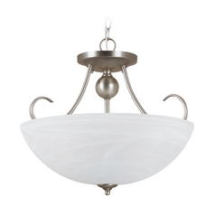 Pendant Light with Alabaster Glass in Antique Brushed Nickel Finish