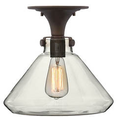Semi-Flushmount Light with Clear Glass in Oil Rubbed Bronze Finish