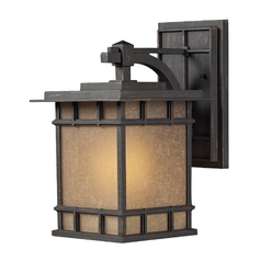 LED Outdoor Wall Light with Brown Tones Glass in Weathered Charcoal Finish