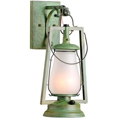 Hook Arm Mount Rustic Brass Outdoor Wall Lantern - Bronze Patina Finish