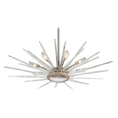 Corbett Lighting Chill Silver Leaf / Polished Stainless Pendant Light with Cylindrical Shade