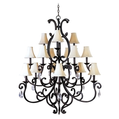 Chandelier with Beige / Cream Shades in Colonial Umber Finish