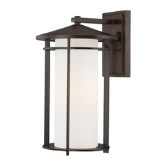 Outdoor Wall Light with White Glass in Dorian Bronze Finish
