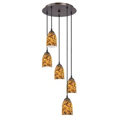 Design Classics Lighting Modern Multi-Light Pendant Light with Brown Art Glass and 5-Lights 580-220 GL1005D
