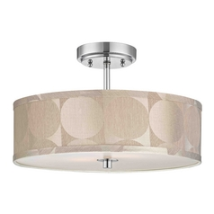 Design Classics Lighting Chrome Drum Shade Semi-Flush Ceiling Light - 16-Inches Wide DCL 6543-26 SH9471
