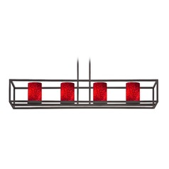 Red Art Glass Linear Chandelier 4-Lights in Bronze