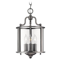 Mini-Pendant Light with Clear Glass in Pewter Finish