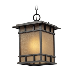 LED Outdoor Hanging Light with Brown Tones Glass in Weathered Charcoal Finish