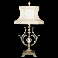 Fine Art Lamps Beveled Arcs Silver Leaf Table Lamp with Hexagon Shade