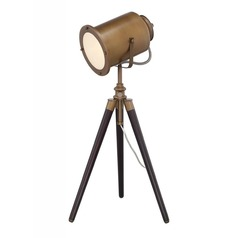 Lite Source Saga Brass and Wood Table Lamp with Cylindrical Shade