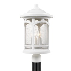 Seeded Glass Post Light White Marblehead by Quoizel Lighting