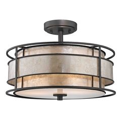 Semi-Flushmount Ceiling Light with Mica Drum Shade