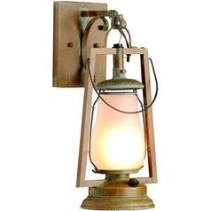 Hook Arm Mount Rustic Brass Outdoor Wall Lantern - New Verde Finish