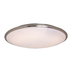 Modern Flushmount Light with White Acrylic in Satin Nickel Finish