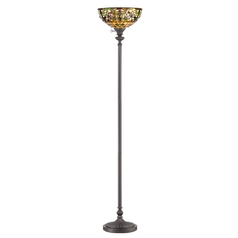 Torchiere Lamp with Tiffany Glass in Vintage Bronze Finish