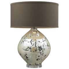 Modern Table Lamp with Brown Shade in Turrit Gloss Beige Finish