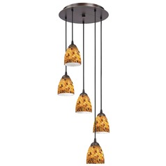 Design Classics Lighting Modern Multi-Light Pendant Light with Brown Art Glass and 5-Lights 580-220 GL1005MB