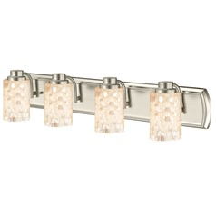 4-Light Mosaic Glass Vanity Light in Satin Nickel