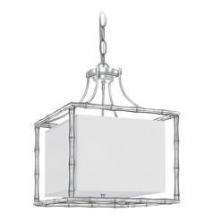 Crystorama Lighting Masefield Antique Silver Pendant Light with Square Shade