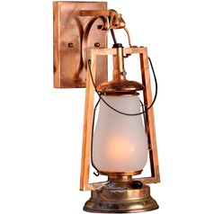 Hook Arm Mount Rustic Brass Outdoor Wall Lantern - Old Penny Finish