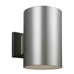 Sea Gull Lighting Outdoor Cylinders Painted Brushed Nickel LED Outdoor Wall Light