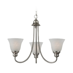 Mini-Chandelier with Alabaster Glass in Brushed Nickel Finish