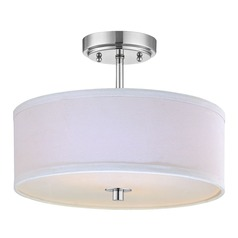 Modern Chrome Ceiling Light with White Drum Shade - 14-Inches Wide