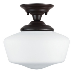 Schoolhouse Semi-Flushmount Light with White Glass in Heirloom Bronze Finish