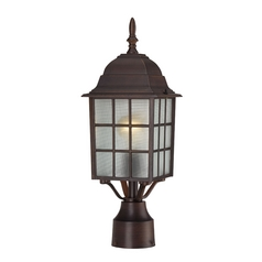Post Light with White Glass in Rustic Bronze Finish