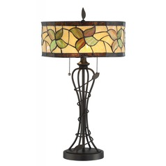 Lite Source Olivia Dark Bronze Table Lamp with Drum Shade
