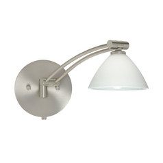 Besa Lighting Modern Swing Arm Lamp with White Glass in Satin Nickel Finish 1WW-174307-SN