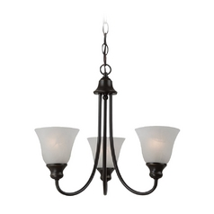 Mini-Chandelier with Alabaster Glass in Heirloom Bronze Finish