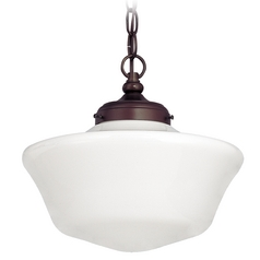 12-Inch Bronze Schoolhouse Pendant Light with Chain