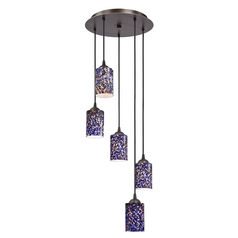 Design Classics Lighting Modern Multi-Light Pendant Light with Blue Glass and 5-Lights 580-220 GL1009C